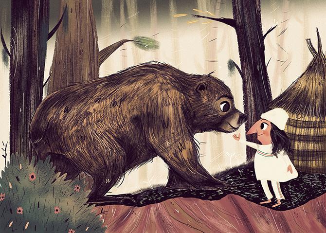 oso-niña-bosque